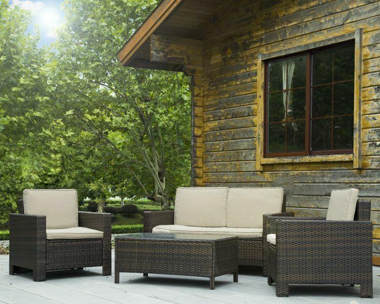 Garden Furniture - 4 Pc Outdoor Patio Sofa Furniture Set Rattan Wicker Cushion Outdoor Garden Brown