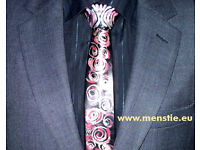 Genuine LEATHER tie with pure SILVER and red ornaments