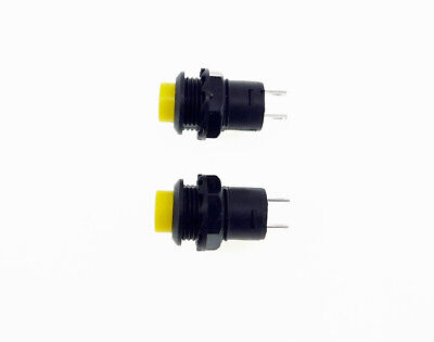2 Pack SPST Normally Open Momentary Push Button Switch Yellow    32731Y