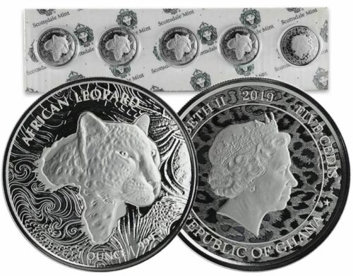 2019 Republic of Ghana African Leopard 1 oz ounce .999 Silver Coin Round 5 CEDIS