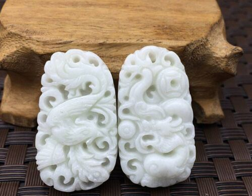 2pcs One pair Pure natural jade hand-carved Chinese Dragon and phoenix Pendants