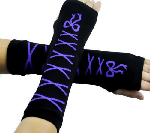 Black-with-Purple-Laces-Ribbon-Elastic-Fingerless-Arm-Warmer-Elbow-Long-Gloves