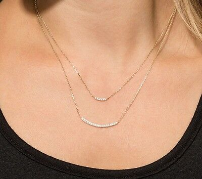 Double Strand Curved Bar Diamond Pendant Necklace 14k Yellow Gold