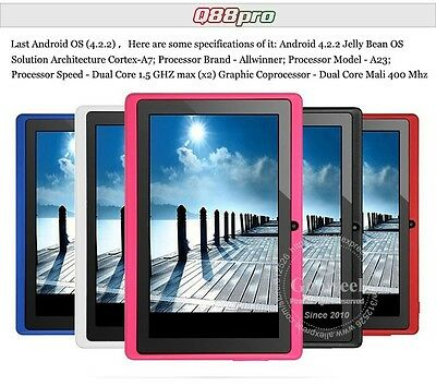 TABLET PC Q88 A23 DUAL CORE  1.5GHz 512MB ROM RAM DDR ANDROID 4.2.2  .