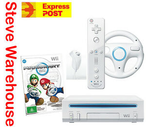Nintendo Wii Console White Mario Kart Game Pack Bundle and Wheel Motion Plus