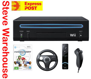 Nintendo Wii Console Black Mario Kart Game Pack Bundle and Wheel Motion Plus