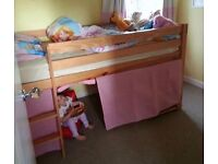 Pine single cabin bed with mattress