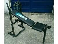 Fitness muscle York bench gym heavy weight real man training sport