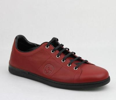 33dd404e1ac  640 Gucci Men s Leather Lace-up sneaker shoes w GG Logo Red Black