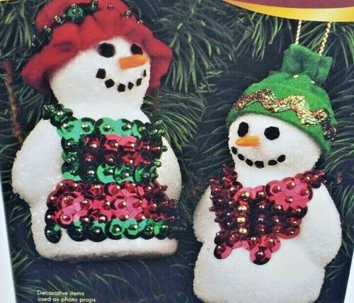 Sulyn MR. & MRS SNOWE Sequin Bead Vintage Christmas Ornament Kit Snowman Holiday