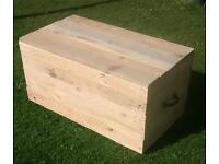 Hand made reclaimed pallet wood blanket toy box chest trunk with castors