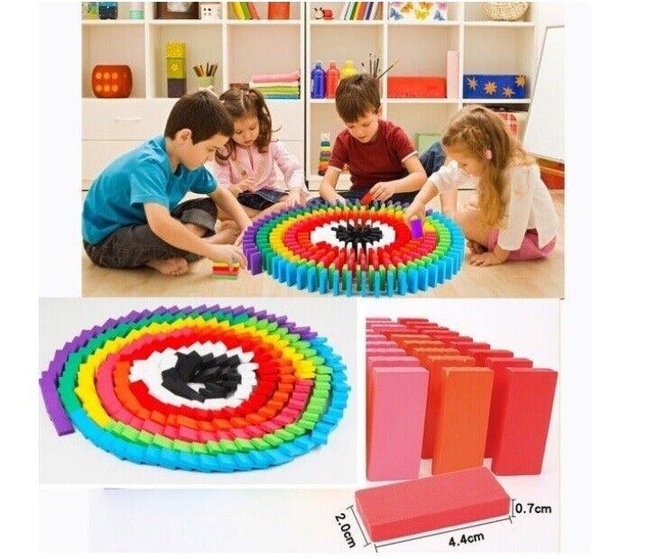 Kids Building Blocks Dominoes Set Wooden Tiles Fun Games Colors Arts Crafts Toy