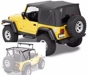 Bestop Supertop NX Full Soft Top Kit w/ Frame 97-06 Jeep Wrangler TJ Black Denim