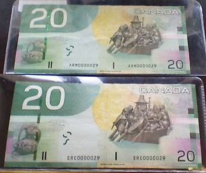 2 Low serial numbered circulated $20.00 ERC and ARM 0000029