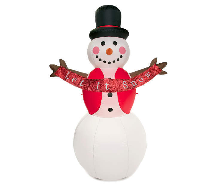 8' Inflatable Snowman With Let It Snow Banner Christmas Decor Yard Art