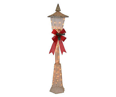 5 Foot Tall - LED Christmas Lamp Post with 40 Clear LED Lights - Champagne
