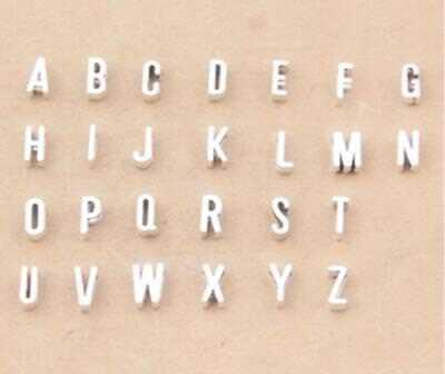 - Antique Silver Alphabet Letters Slider Charms For 7mm Flat Cord Bracelets Select