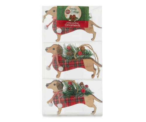 Dachshund with Tree Decorative Ornaments, 3-Pack