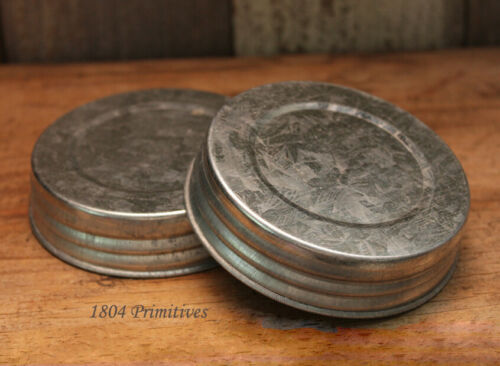 "2 Galvanized 3.5"" Lids ~ Fits WIDE Mouth Mason Jars"
