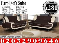 LEATHER SOFA KAROOL 3 and 2 SEATER BLACK RED WHITE BROWN New York
