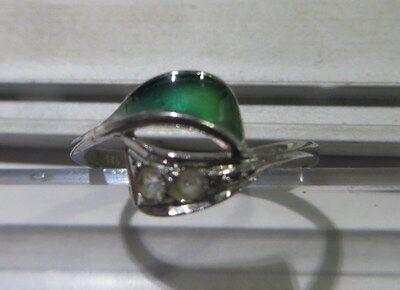 """Bague en argent avec zircon et céramique verte – 2 poinçons  dont 1 """"925"""" – tail"""