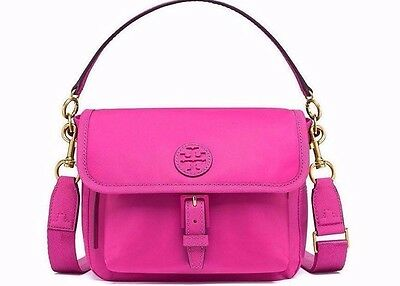 NWT❤️Authentic TORY BURCH Scout Nylon Crossbody Bag Hibiscus Flower PINK FREE SH