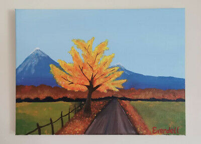 Original canvas painting. Autumn colour. Tree, mountains, road. One of a kind.
