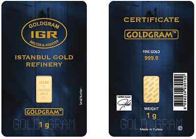 1 Gram IGR Mint 999.9 Gold Bar Sealed with Assay Certificate 24 Karat