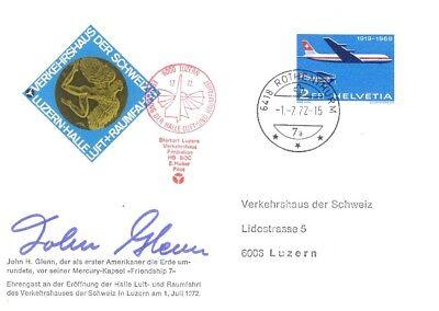 Postkarte, John Glenn, signiert, Weltraumfahrt