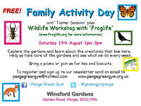 Free Family Activity Day + Wildlife Workshop from Froglife. Weekend Green Gym style taster session