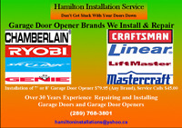 Professionally Installed Garage Door Openers $79.95
