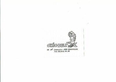 """Will-carte publicitaire de la librairie """"Chic-Bull"""" Logo de Will-Bruxelles"""