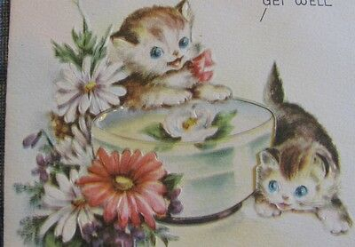 CURIOUS CATS KITTENS LOOKING AT FLOWER BOWL VINTAGE GREETING CARD 40s DIECUT