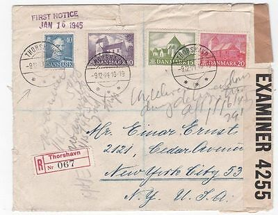 Faroe Islands to US 1944 Censored Registered WWII