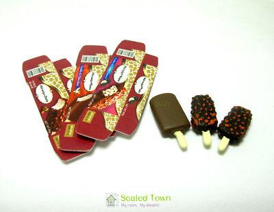 3 Dollhouse Miniature Food Dessert Chocolate Ice cream Sticks 1:12 Fridge Decor