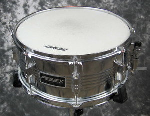 Two steel snare drums