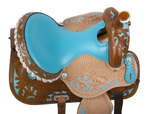 "14"" 15"" 16"" Western Saddle Teal TAN Turquoise + 3pc Tack Set NEW London Ontario image 8"