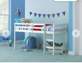 White wood mid sleeper kids bed