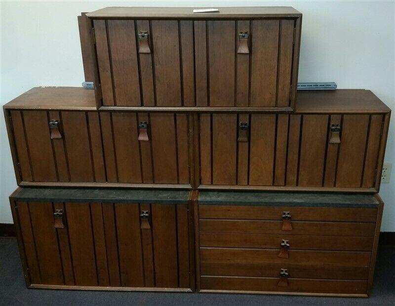 1960s Danish Modern Style Modular Walnut Wall Unit Drawers Cabinet