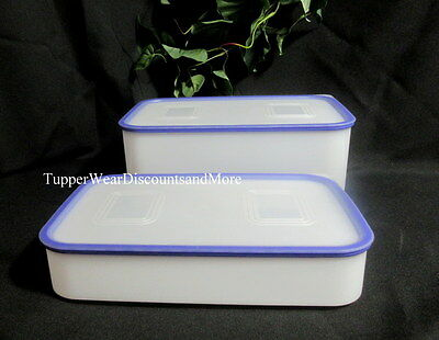 Tupperware NEW Pak N Stor 2 Pc Modular  Rectangular Set White & Purple Seal