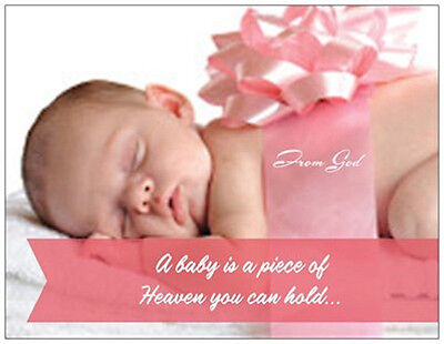 20 Pink BOW Baby GIRL From God Shower INVITATIONS Postcards or Flat Cards ](Baby Girl Invitations)
