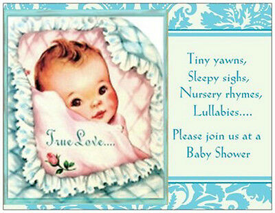 BABY BOY Vintage Repro Shower INVITATIONS  Postcards or Flat Cards Env ](Postcard Invitations)