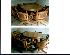 Hand Made Oak Table and Chairs For Sale