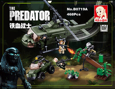 Bausteine Alien vs Predator Helicopter Jeep Monster Modell DIY 468pcs Spielzeug
