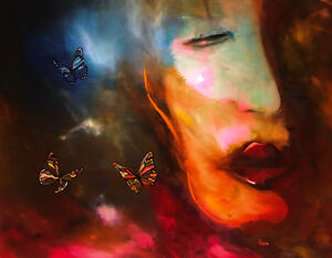 Whispers Large Oil Painting by Canadian Artist