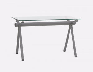 STUDIO Tempered glass and iron desk 48''