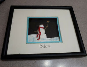 Snowman shadow box picture in frame says believe $10