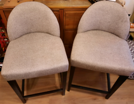 2 fabric barstool chairs