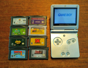 Nintendo GBA SP and 8 games