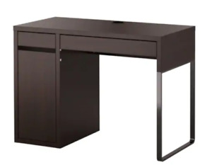 Small Black Brown Computer Desk with Drawer and Storage